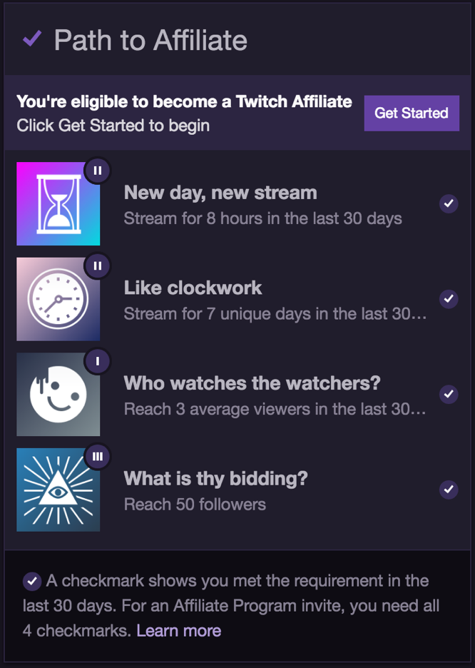 Rigaroga Twitch Path to Affiliate